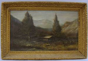 Framed 19th Century American School Oil on Canvas Landscape with Log Cabin