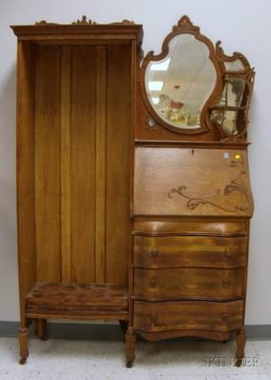 Late Victorian Larkintype Carved Oak Writing DeskBookcase