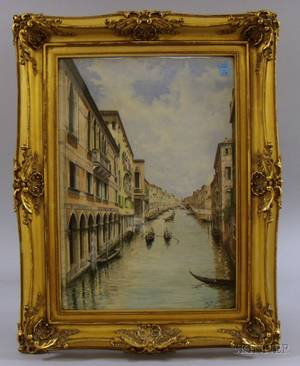 Framed 20th Century Continental School Watercolor on Paper Venetian Scene