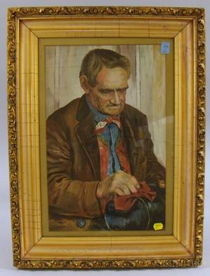 Framed 20th Century American School Oil on Paper Portrait of a Man