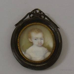 Framed 19th Century Miniature Painted Portrait of a RedHaired Baby in White Dress on Ivory