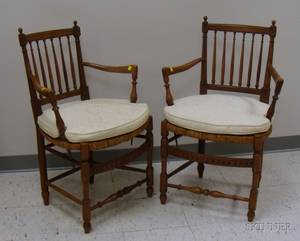 Pair of French Carved Walnut Armchairs with Woven Rush Seats