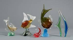 Five Italian Art Glass Fish Figurines