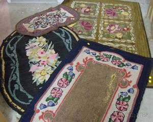 Four Floral Pattern Hooked Rugs