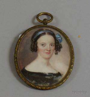 Framed Miniature Painted Portrait of a Young Woman with Blue Ribbon on Ivory