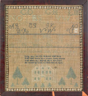 Essex Massachusetts silk on linen sampler dated 1809