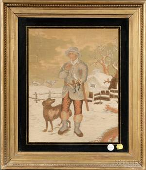 Silk and Wood Needlework Picture of Hunter and a Dog