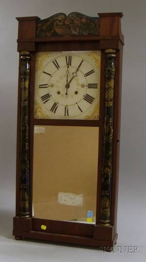 Stenciled Column and Splat Shelf Clock by Jerome and Darrow