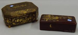 Chinese Export Gilt Decorated Black Lacquered Sewing Box and a Japanese Gilt Enamel Decorated Lacquered Box