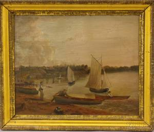 Framed Oil on Metal Scene with Figures on the Shore