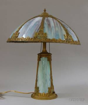 Painted Metal Overlaid and Bent Slag Glass Panel Table Lamp with Illuminated Base