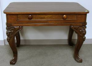 Victorian Rococo Revival Carved Rosewood and Rosewood Veneer Spinet Table with Drawer