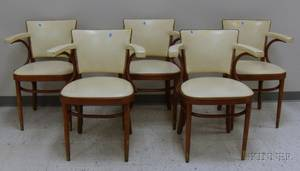 Set of Five Thonet Naugahyde Upholstered Bentwood Armchairs