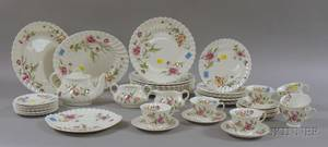 Fortysix Piece Royal Doulton Transfer Clovelly Pattern Porcelain Partial Dinner Service