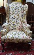Queen Anne Style Crewelwork Upholstered Mahogany Wing Chair