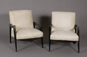 Pair of Midcentury Modern Upholstered Painted Wood Armchairs