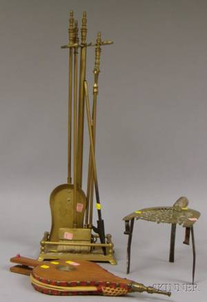 Set of Four Brass Fireplace Tools with Stand a Brass Trivet and a Painted Wooden Bellows