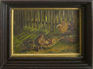 Oil on canvas of three chicks