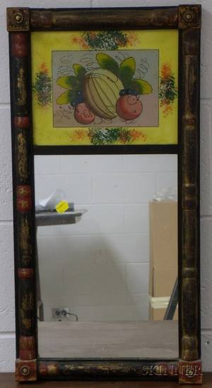 Paint Decorated Splitbaluster Mirror with Reversepainted Glass Tablet Depicting a Fruit Still Life