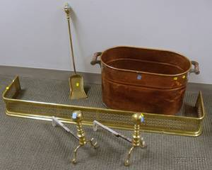 Pair of Brass Ringturned Balltop Andirons a Pierced Brass Fireplace Fender Shovel and a Copper Boiler