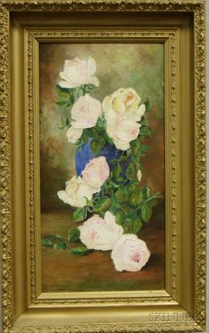 Framed 20th Century American School Oil on Canvas Still Life with Flowers