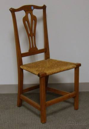 Country Chippendale Cherry Side Chair with Woven Rush Seat