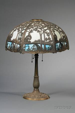 Brass Plated Cast Iron Table Lamp with Hexagonal Metal Overlaid Slag Glass Bent Panel Shade