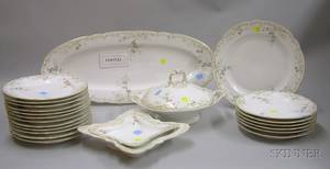 Twentyfive Piece European Transfer Floral Decorated Porcelain Partial Dinner Service and a Set of Twelve Gilt