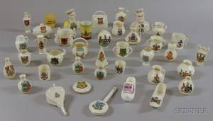 Collection of Approximately Thirtynine Pieces of Small British Porcelain Souvenir Crest Ware