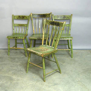 Set of 4 painted plank seat chairs