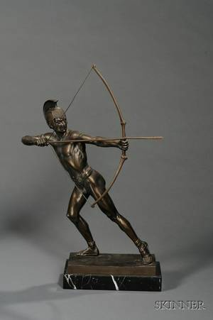 SchmidtHofer German 20th Century Bronze Sculpture of a Spartan Archer