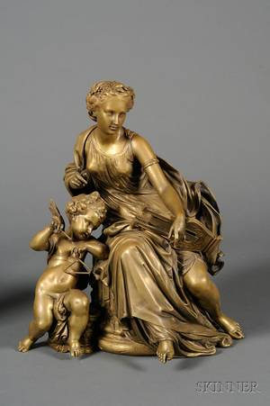 Jean Jules Salmson French 18231902 Bronze Allegorical Figure of Music