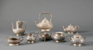 Assembled Tiffany  Co SevenPiece Sterling Repousse Tea and Coffee Service