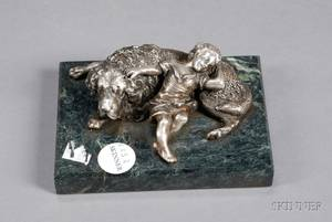 Russian Silver Figure of a Boy and Dog Napping