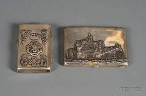 Two Russian Silver Presentation Cigarette Cases