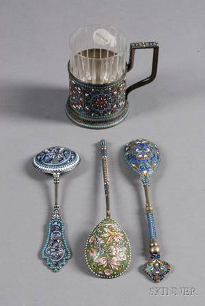 Four Russian Silver and Enamel Tablewares