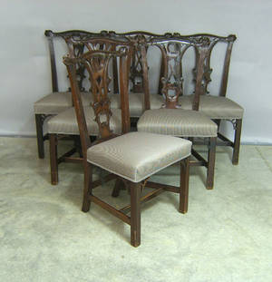 Assembled set of 10 George III style mahogany dining chairs