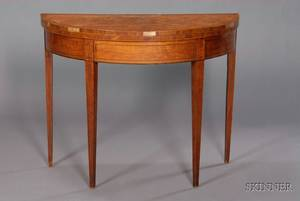 George III Inlaid Satinwood Demilune Game Table