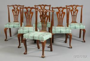 Set of Six MidGeorgian Carved Mahogany Dining Chairs