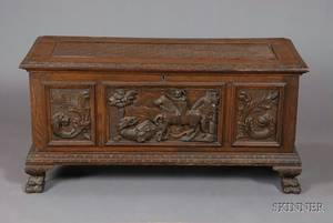 Renaissance Revival Carved Oak Blanket Box