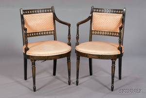 Pair of English Regency Black Painted and Giltstenciled Open Armchairs
