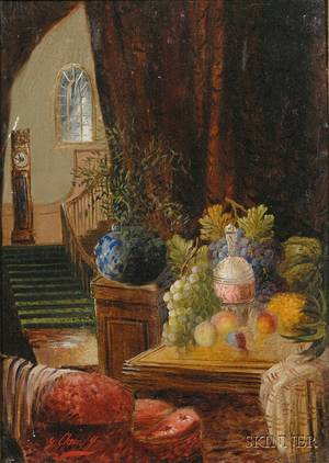 Attributed to George Clare British 18301900 Opulent Still Life and Grand Staircase