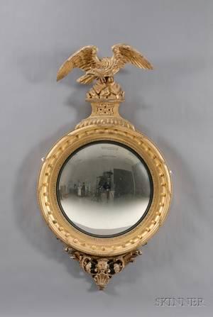 Fine Large Regency Giltwood Convex Mirror