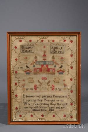 Framed British Crossstitch Sampler