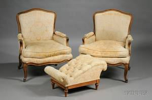 Pair of Louis XV Style Walnut Bergeres a la Reine