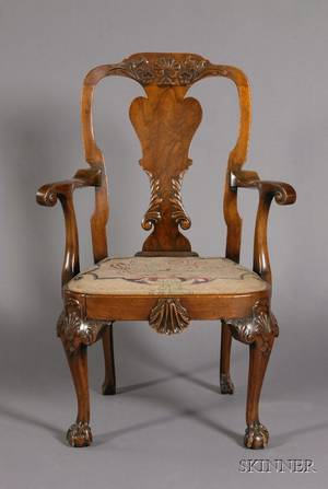 MidGeorgian Style Carved Walnut and Needlepoint Upholstered Open Armchair