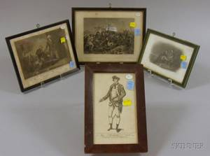 Four Framed Prints Depicting 18th Century Military Scenes and Figures