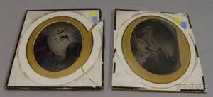 Pair of Unframed Chromolithographs on Glass