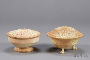 Two Worcester Porcelain Potpourri Bowls and Covers