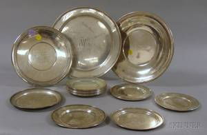 Twentyone Sterling Plates and Platters